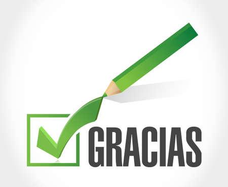 gratefulness: spanish thanks message check sign illustration design graphic