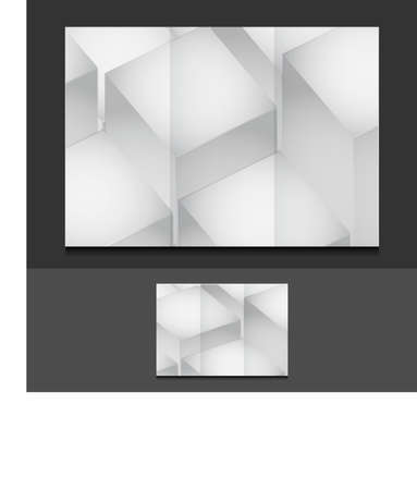 assign: cubes trifold template illustration design over a grey background