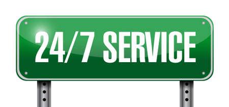 24-7 service road sign concept illustration design icon graphic 版權商用圖片