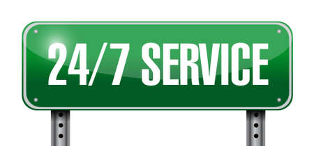 24-7 service road sign concept illustration design icon graphic Stock Photo