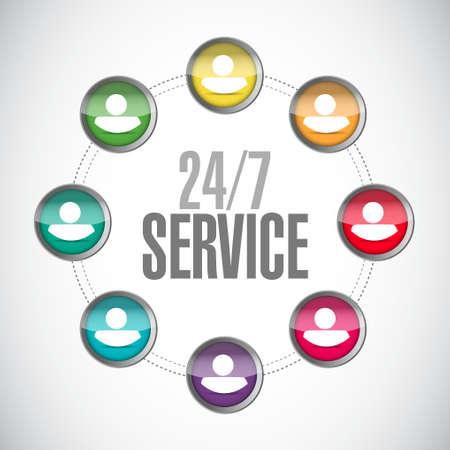 24-7 service community sign concept illustration design icon graphic