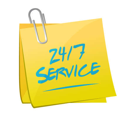 24-7 service post message sign concept illustration design icon graphic Stock Photo