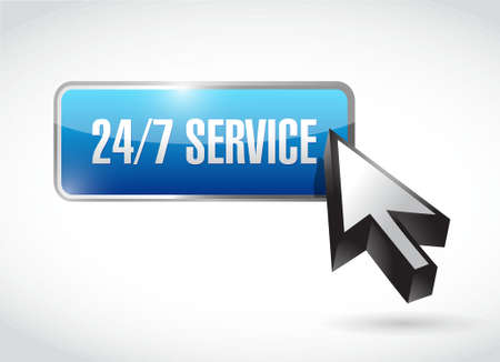 24-7 service cycle sign concept illustration design icon graphic Stock Photo