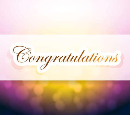 congratulation: congratulations bokeh light sign illustration design background Stock Photo