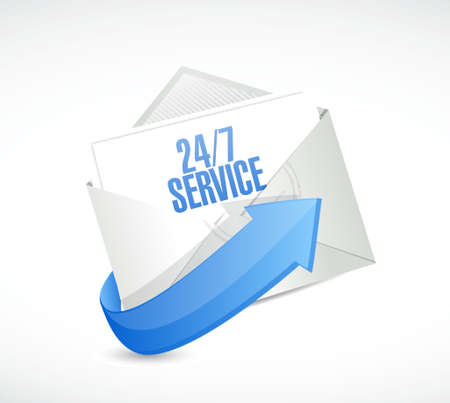 shop opening hours: 24-7 service envelope sign concept illustration design icon graphic