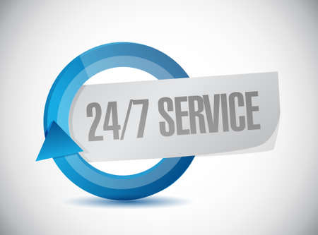 turning operation: 24-7 service cycle sign concept illustration design icon graphic Stock Photo