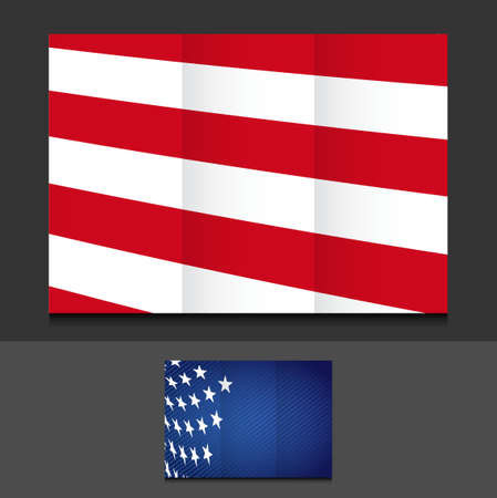 tri fold: US tri fold template illustration design over a grey background