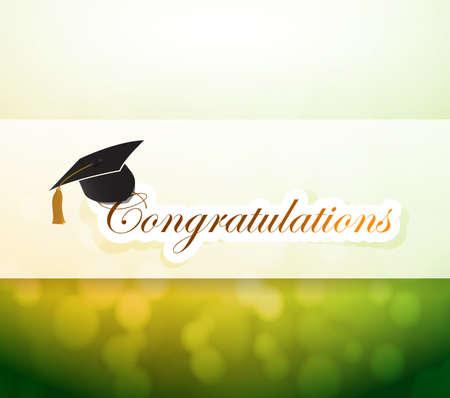 graduation. congratulations bokeh light sign illustration design background Reklamní fotografie