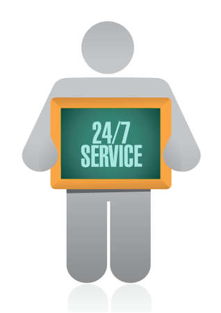 shop opening hours: 24-7 service board sign concept illustration design icon graphic Stock Photo