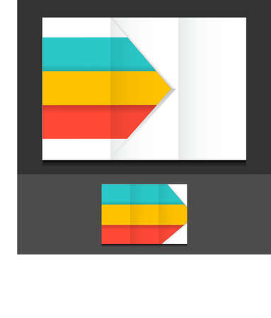 assign: colorful trifold template illustration design over a grey background Stock Photo