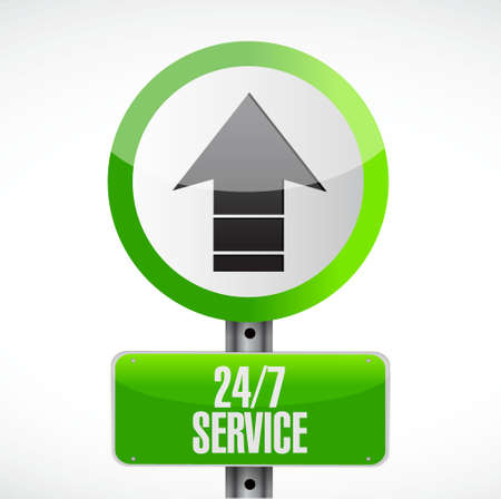 shop opening hours: 24-7 service road sign concept illustration design icon graphic Stock Photo