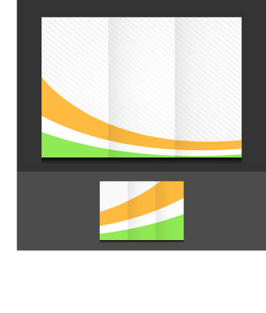 assign: orange white and green trifold template illustration design over a grey background