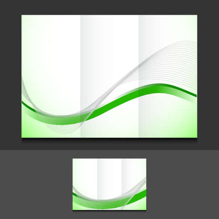 green wave trifold template illustration design over a grey background Stock Photo