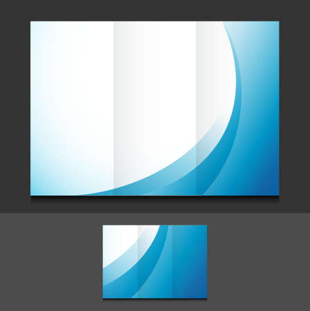 blue waves: blue waves trifold template illustration design over a grey background