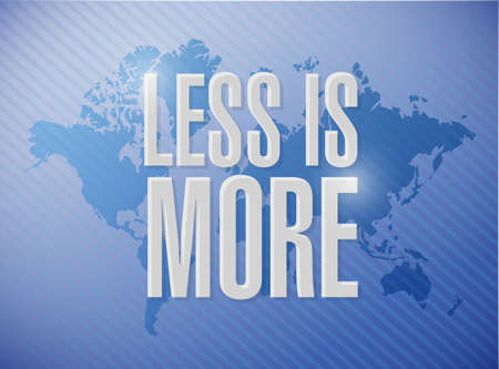 less: less is more world map sign concept illustration design