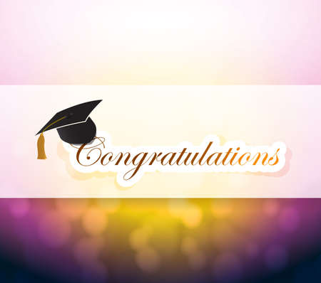graduation. congratulations bokeh light sign illustration design background Stok Fotoğraf