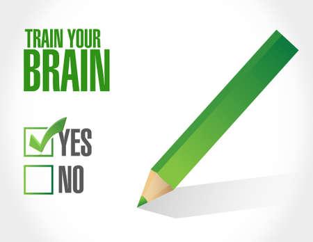 self training: train your brain check list sign concept illustration design
