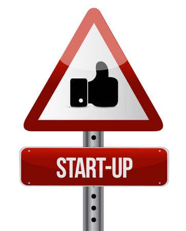 founding: Start-up warning like sign concept illustration design artwork Illustration