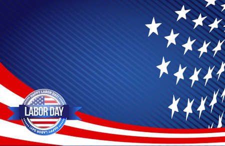 labor day seal sign illustration design graphic background Vectores