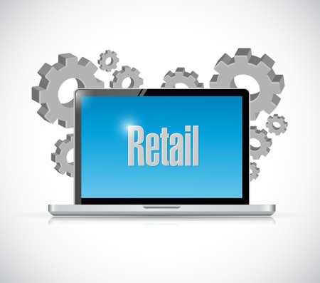 retail tech laptop computer sign concept illustration design graphic