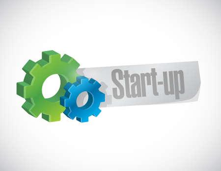 Start-up gear sign concept illustration design artwork Stock Illustratie