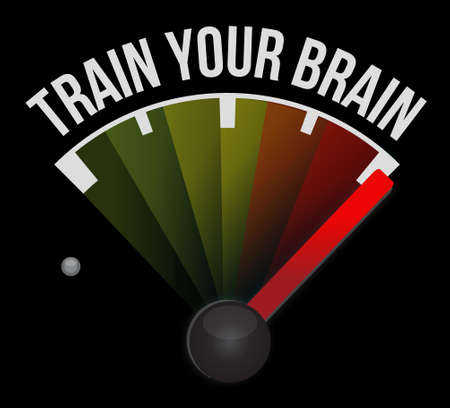 brain: train your brain street sign concept illustration design