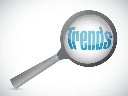 trends: trends magnify sign concept illustration design over white Illustration