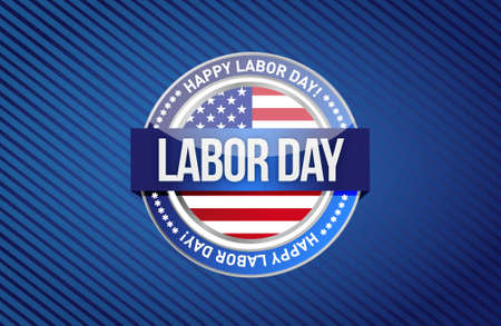 labor day seal sign illustration design graphic background Stock Illustratie