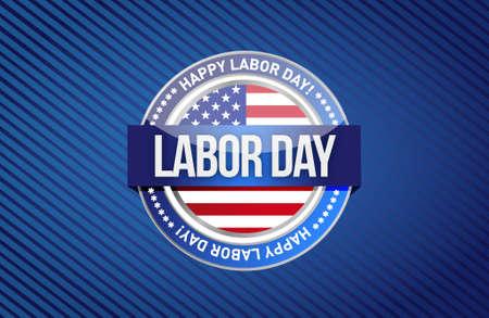 labor day seal sign illustration design graphic background Illustration