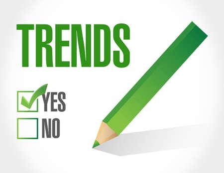 trends: trends approval checklist sign concept illustration design over white