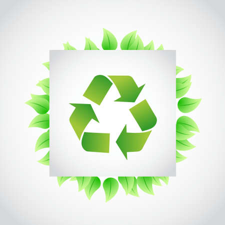 green recycle sign leaves illustration design over white