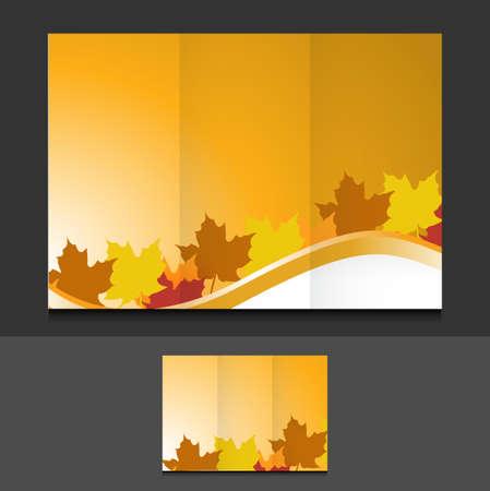tri fold autumn leaves template illustration design graphics