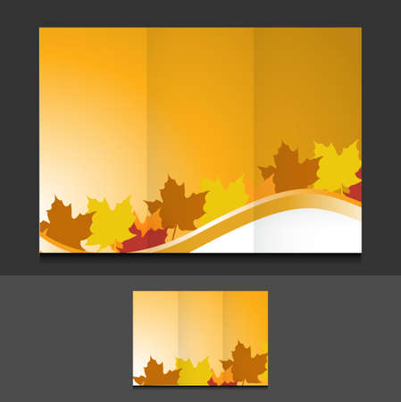 tri fold autumn leaves template illustration design graphics