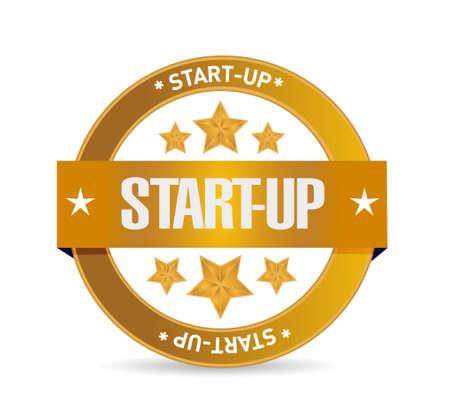 founding: Start-up seal sign concept illustration design artwork