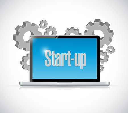 venture: Start-up tech computer sign concept illustration design artwork