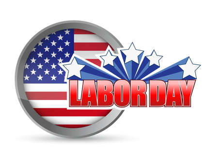 labour: labor day flag seal sign illustration design graphic