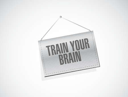 self training: train your brain hanging sign concept illustration design Illustration