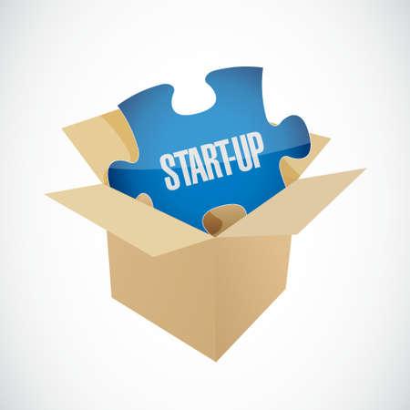 founding: Start-up puzzle piece inside a box sign concept illustration design artwork