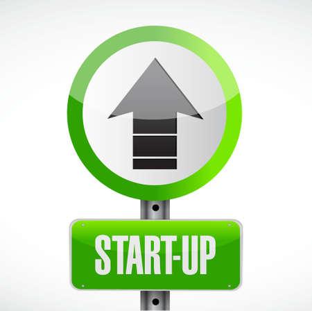 Start-up road sign concept illustration design artwork