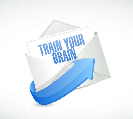 self development: train your brain mail sign concept illustration design