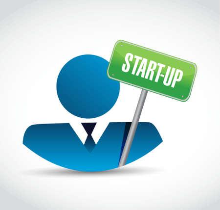 founding: Start-up road sign concept illustration design artwork