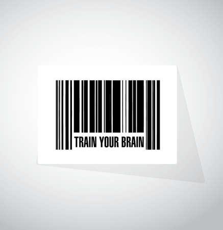 train your brain barcode sign concept illustration design
