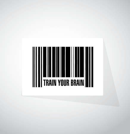 train your brain barcode sign concept illustration design