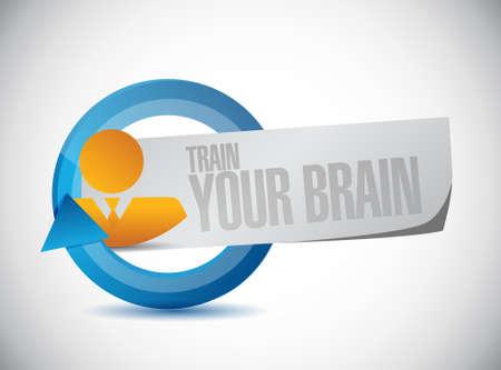 self training: train your brain cycle sign concept illustration design Illustration