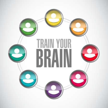 self training: train your brain people community sign concept illustration design Illustration