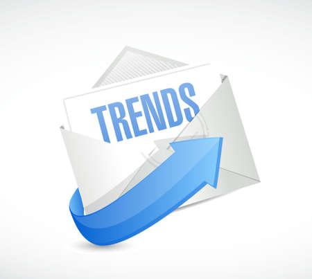 흰색 위에 동향 메일 기호 개념 일러스트 레이션 디자인
