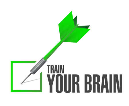 self development: train your brain check mark sign concept illustration design Illustration