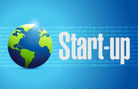 founding: Start-up globe sign concept illustration design artwork