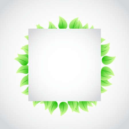 rimmed: green banner sign leaves illustration design over white Vectores