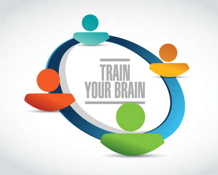 self development: train your brain people network sign concept illustration design